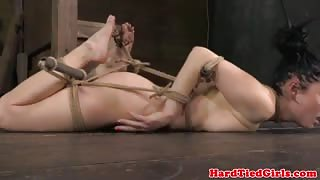 Gagged sub restrained and punished