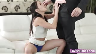 Sexy babe Megan Rain sucks off and gets nailed on the couch