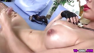 Busty tgirl tugs and cums