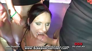 Hot babe takes many cocks all at once