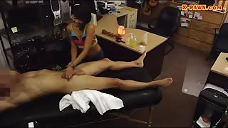 Slim Asian pawns her massage table and fucked by pawn man
