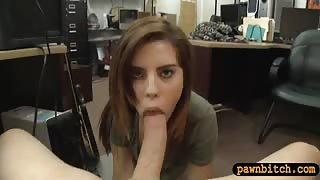 Tight brunette babe railed by pawn dude at the pawnshop