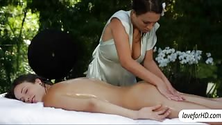 Super erotic body massage ends in hot lesbo sex by the pool