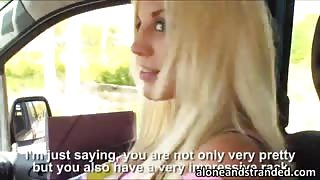 Busty blonde boned in a car and facialed