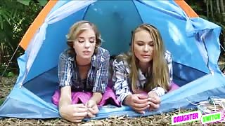 Teens Alyssa and Haley gets an outdoor sex with stepdads