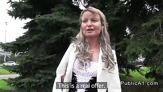 Czech blonde fucked on the bench outdoor
