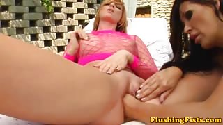Gaping lesbian pussy outdoor fisting