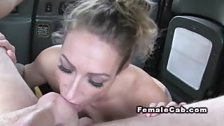 Inked taxi driver deep throats in her fake cab
