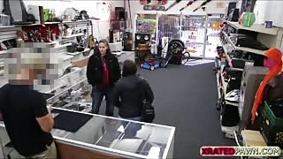 Brunette Bitch  Fucked inside the pawn shop office while she is selling her Collection