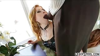 Horny babe Brooklyn Lee probes her hole with a toy and gets assfucked