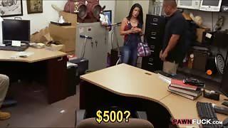 Sexy Cuban sells her TV and gets banged at the pawnshop