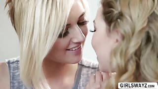 Blonde lesbian Kate England and Angel Smalls oral and scissor sex