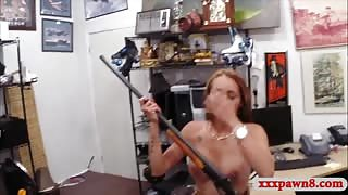 Busty biatch pawns her pussy and banged at the pawnshop