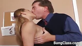 Pigtailed Blonde Teen Tongues & Hammers Thick Pole