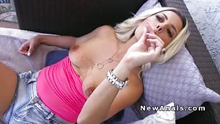 Blonde girlfriend takes huge cock up ass
