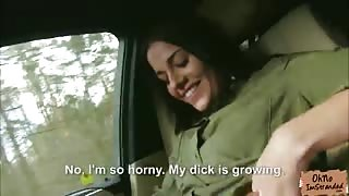 Hot stranded Eveline Dellai fucks a stranger in the car