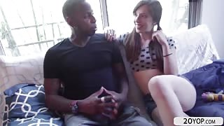 Skinny babe Ember Stone sucks and gets fucked by black huge dick