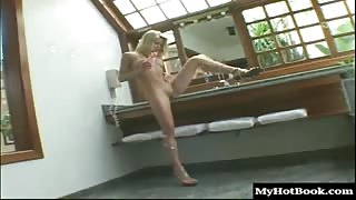 Pretty 18yearold blonde Latina, Luana Martinelli, does a striptease, and shows off her