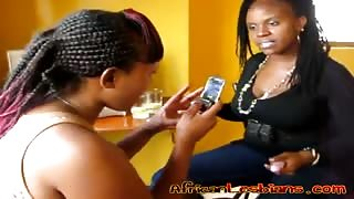 Curvy African lesbians lick and finger their slippery chocolate pussies