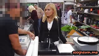 Blonde MILF agrees to have sex in the pawnshop to earn cash