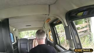 Damn hot traveler jumps on a big cock guy inside the cab