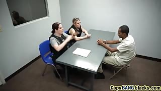 Sexy MILF Bitches in Cop's Uniform Blackmailed And Banged a Black Guy