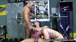 Horny guys sucking and fucking at the gym