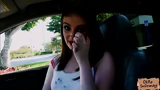 Gorgeous teen Maya Kendricks fucked doggystyle in the car