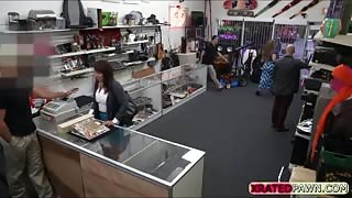 Brunette MILF tries to sell something at the shop instead gets caught sucking dick