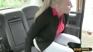 Hungarian magnificence babe flashes tits and slammed inside the taxi