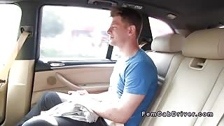 Milf taxi driver seducing young guy in her fake taxi
