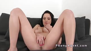 Casting finished with cunt creampie for brunette