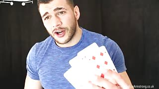 Cocky Muscle Guy Plays Strip Poker While Wanking