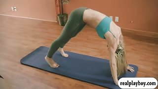 Yoga session with massive boobs instructress Khloe Terae