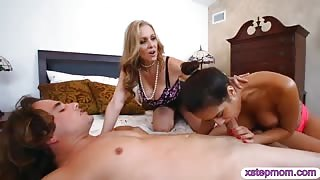 Julia Ann and Abby Lee Brazil FFM 3way in the bedroom