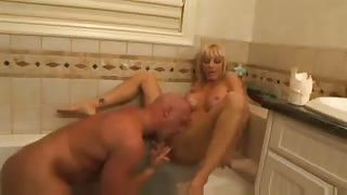 Steamy MILF Drilled In Bathtub!