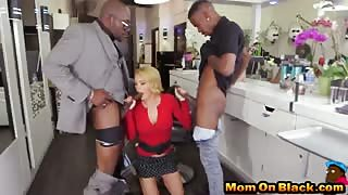 Blonde hair stylist gets double penetrated in her studio
