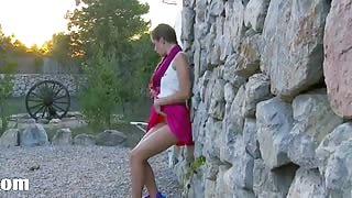 Girl from Russia strip outside