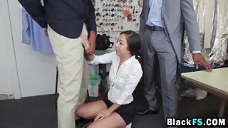 Asian chick filled with two black cocks roughly
