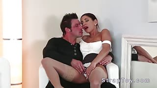 Beautiful babe fucks guy with strap on dildo