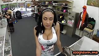 Busty latin babe gives head and railed by pawn guy