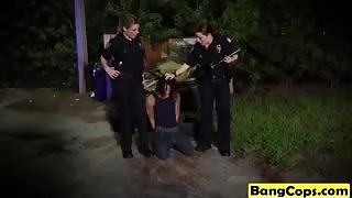Busty female cops with big tits get fucked hard by a big cocked blacks stud outdoors