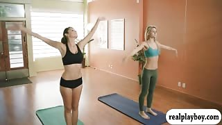 Busty coach Khloe Terae yoga session with her students