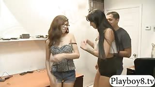 Two tight babes pounded by pervert guy for some money
