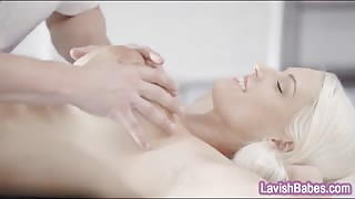 Busty blonde babe Blanche Bradburry anal fucked by masseur