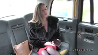 Brit blonde lady bangs in fake taxi from behind