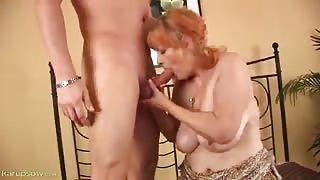 Curvy Old Satisfied By Large Young Rod