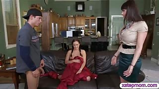 Stepmom Eva Karera caught naughty couple fucking on sofa