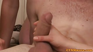 Femdom CFNM group hotties sucking cock