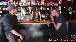 Busty bartender Mercedes Carrera services two black dicks and gets pussy annihilated